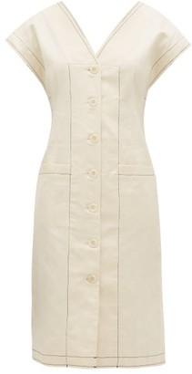Proenza Schouler White Label Cotton-blend Button-down Midi Dress - Womens - Ivory