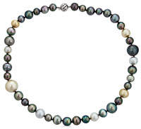 BELPEARL 14k White Gold Multicolor Elegant Tahitian & South Sea Pearl Necklace, 10-14mm