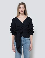 Jayne Wrap Top in Navy