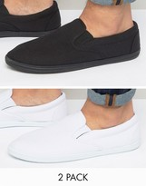 Asos Slip On Plimsolls In Black And White 2 Pack Save