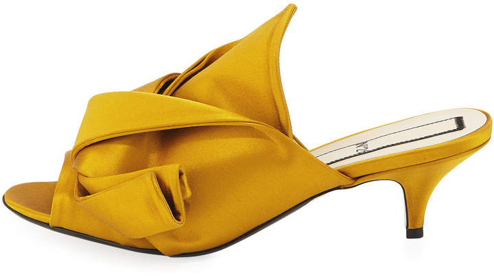 No.21 No. 21 Pleated Satin Slide Mule Sandal, Marigold