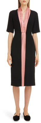 Roksanda Contrast Silk Stripe Midi Dress