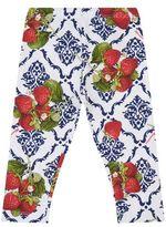 MonnaLisa Strawberry Print Jersey Leggings