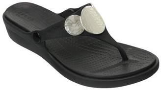Crocs Women's Sanrah Embellished Wedge Flip Flops