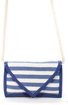 Charlotte Ronson Tan Blue Canvas Striped Knotted Strap Crossbody Handbag