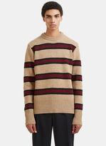 Marni Striped Wool Knit Sweater In Beige