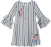 Beautees 2-Pc. Embroidered Ruffle Shift Dress & Necklace Set, Big Girls
