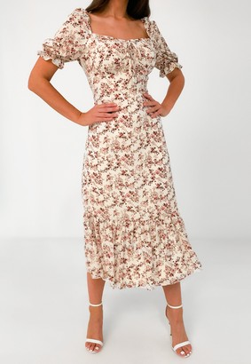 Missguided White Floral Print Tie Bust Milkmaid Midi Dress