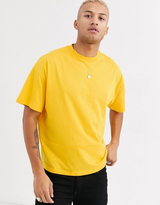 Asos DESIGN oversized t-shirt with seam detail in yellow