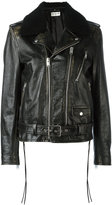 Saint Laurent biker jacket - men - Cotton/Calf Leather/Sheep Skin/Shearling/Cupro - 46