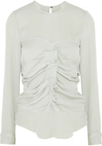 Isabel Marant Heather ruched silk-georgette blouse
