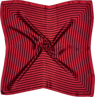 Bees Knees Fashion Black Red Square Print Small Thick Silk Square Scarf