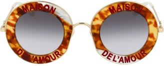 Gucci Slogan Printed Round Sunglasses