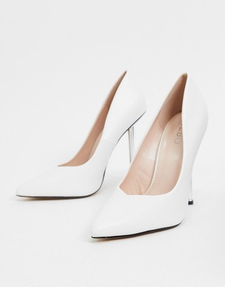 BEBO pointed heeled court shoes in white