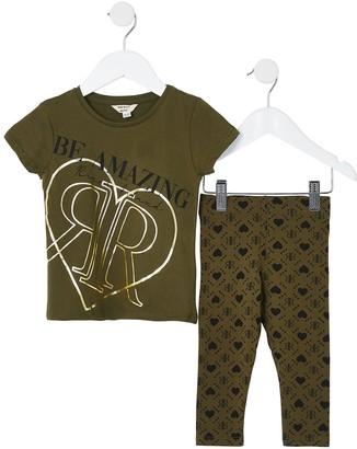 River Island Mini Girls Printed T-shirt and Legging Set -Khaki