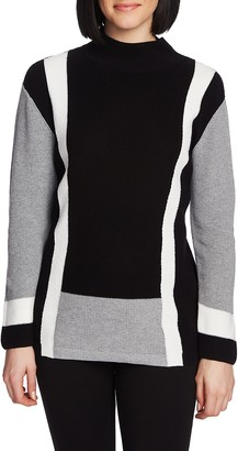 Chaus Colorblock Mock Neck Pullover