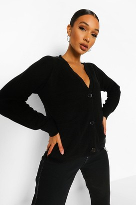 boohoo Fisherman V Neck Knitted Cardigan