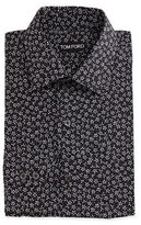 Tom Ford Mini-Floral Print Shirt, Black/White