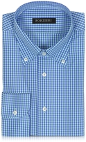 Forzieri Blue & Light Blue Checked Cotton Slim Fit Men's Shirt