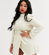 In The Style Plus In The Style x Stephsa Plus high neck shimmer mini dress with belt detail in cream
