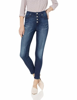 Seven7 Women's Ultra HIGH Rise Ankle Skinny Exposed Button Front