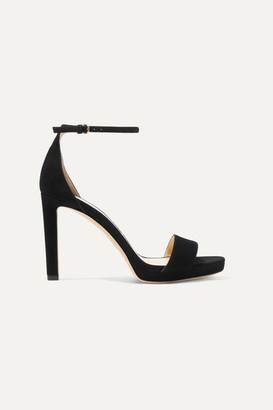 Jimmy Choo Misty 100 Suede Platform Sandals - Black