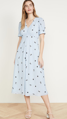 Jason Wu Berry Gathered Sleeve V Neck Dress