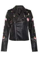Quiz Black PU Embroidered Biker Jacket