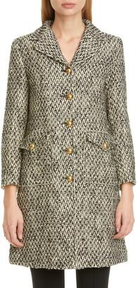 Gucci GG Detail Wool Blend Tweed Coat