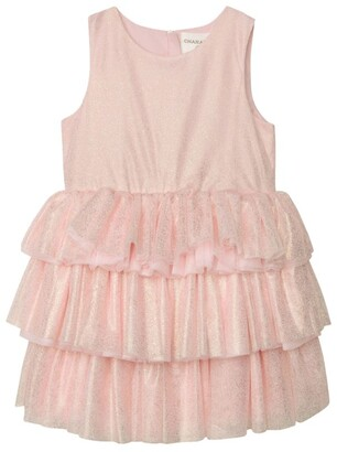 Charabia Metallic Tulle Tiered Dress (3-14 Years)