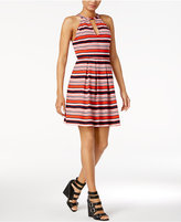 Kensie Striped Cutout Fit & Flare Dress