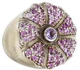 MCL by Matthew Campbell Laurenza Pink Sapphire & Amethyst Enamel Flower Ring