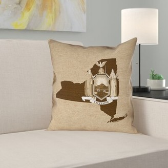 """New York Flag Pillow in , Faux Suede Double Sided Print/Throw Pillow East Urban Home Size: 14"""" x 14"""", Color: Sepia"""
