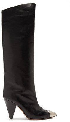 Isabel Marant Lelize Metallic-toecap Leather Knee-high Boots - Black