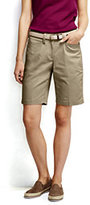 """Lands' End Women's Straight Fit Plain 10"""" Chino Shorts-White"""