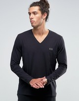 Boss By Hugo Boss V-neck Long Sleeve Top In Regular Fit