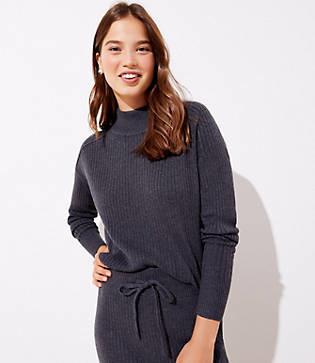 LOFT Petite Ribbed Luxe Knit Mock Neck Sweater