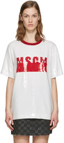 MSGM White Sequinned T-Shirt Blouse