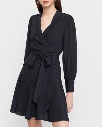 Express Puff Shoulder Wrap Dress