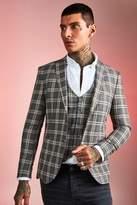 BoohoomanBoohooMAN Mens Brown Heritage Check Skinny Fit Suit Jacket, Brown