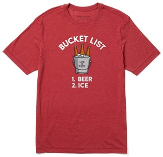 Life is Good Bucket List Cool Tee (Faded Red) Men's Clothing