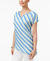 Alfred Dunner Zigzag Striped Asymmetrical Top