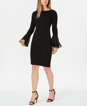 Calvin Klein Petite Chiffon Bell-Sleeve Sheath Dress