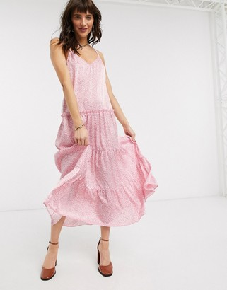Topshop tiered cami midi dress in pink floral