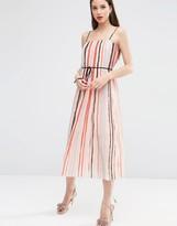 Asos Cami Pleated Midi Dress In Stripe