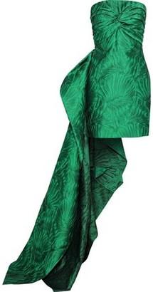 Reem Acra Strapless Draped Cloque-jacquard Mini Dress
