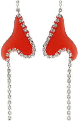 Vanessa Schindler Red Strass Chain Earrings