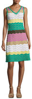 M Missoni Sleeveless Colorblock Zigzag Knit Dress, Multi