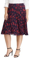 Lauren Ralph Lauren Plus Floral Pleated A-Line Skirt