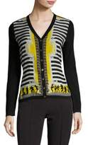 Versace Printed Striped Silk & Wool Cardigan